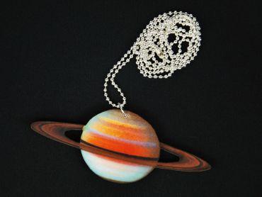 Planeten Kette Saturn Halskette Miniblings 80cm Sonnensystem Ringplanet bunt – Bild 3