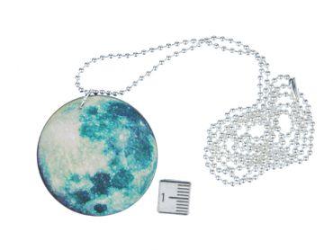 Planeten Kette Mond Halskette Miniblings 80cm Sonnensystem Planet Moon grün grau – Bild 2