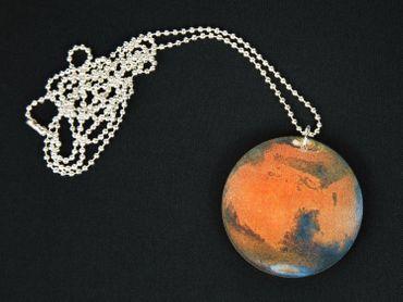 Planeten Kette Mars Halskette Miniblings 80cm Sonnensystem Planet Mars rot blau – Bild 3