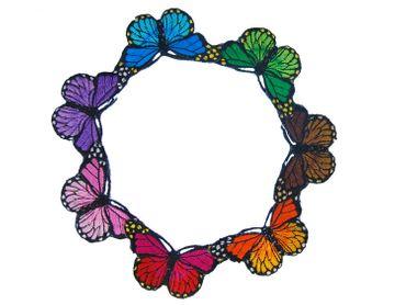 7er Set Schmetterling Bügelbild Aufnäher Aufbügler Miniblings Morphofalter Bunt – Bild 1