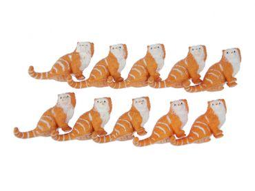 10X Cat Animal Figure Figures Figurines Miniblings Persian Cats 6cm Getiegert Red – Bild 1