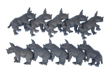 10X Rhino Miniblings Toy Figures Figurines 6cm African Gray rhinoceros – Bild 1