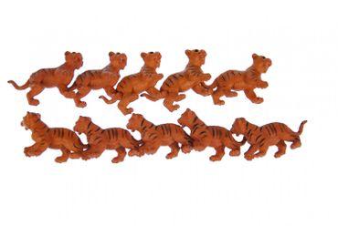 10x Tigerbaby Aufstellfigur Miniblings Gummitier Tiger Tierfigur Tier Orange  – Bild 1