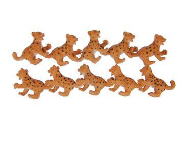 10X Leo Lionpard Cheetah Baby Child Children Miniblings Toy Figures Figurines African Orange – Bild 1