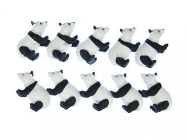 10x Pandabär Aufstellfigur Miniblings Gummitier Chinesicher Panda Weiß Schwarz – Bild 1