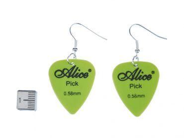 Plektrum Plektron Ohrringe Miniblings Hänger Gitarre E-Gitarre Band Grün – Bild 2