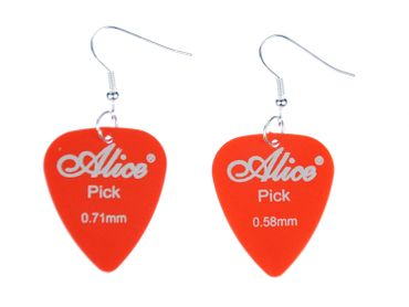 Plectrum Plectrum Earrings Miniblings Pendant Guitar Electric Guitar Band Orange – Bild 1
