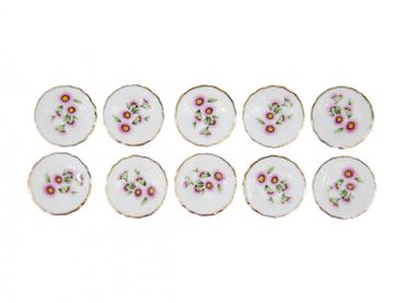 10X Plate Dollhouse Dollhouse Porcelain Ceramic Plate Pink Flowers Landscape Dish Dishes – Bild 1
