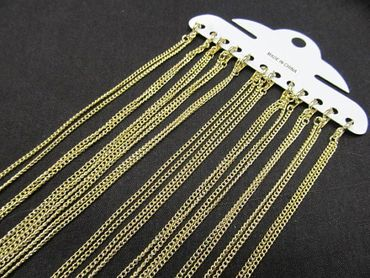 12X Curb Chain Link Necklace 2.4mm DIY Miniblings Necklace Gold Plated Lobster Clasp 60cm – Bild 2