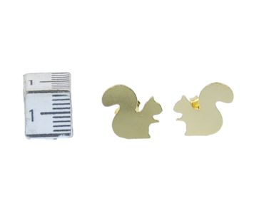 Squirrels Earrings Ear Studs Earstuds Miniblings Natural Animal Tree Gray Squirrel Rodents – Bild 1
