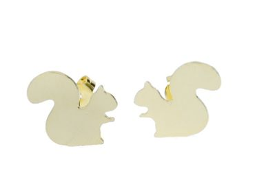 Squirrels Earrings Ear Studs Earstuds Miniblings Natural Animal Tree Gray Squirrel Rodents – Bild 3