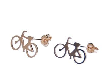 Bicycle Earrings Ear Studs Earstuds Miniblings Bike Cyclist Sports Rosegold – Bild 1