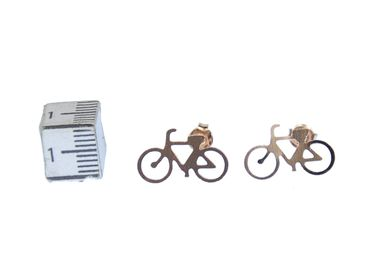 Bicycle Earrings Ear Studs Earstuds Miniblings Bike Cyclist Sports Rosegold – Bild 2