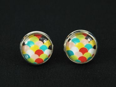 Colorful Scales Pattern Cabochon Earrings Ear Studs Earstuds Miniblings Green Yellow Blue White – Bild 2