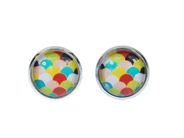 Colorful Scales Pattern Cabochon Earrings Ear Studs Earstuds Miniblings Green Yellow Blue White – Bild 1