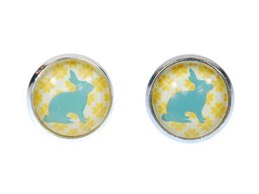 Rabbit Pattern Pattern Cabochon Earrings Ear Studs Earstuds Miniblings Rabbit Turquoise Yellow – Bild 1