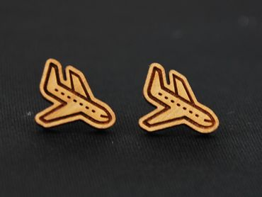 Aircraft Earrings Ear Studs Earstuds Miniblings Airport Flying Airplane Lasercut Plane – Bild 2