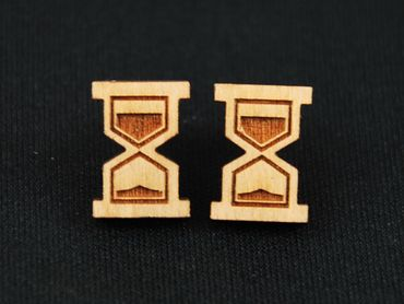Hourglass Earrings Ear Studs Earstuds Miniblings Clock Time Timepiece Bell Clock Lasercut – Bild 2