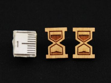 Hourglass Earrings Ear Studs Earstuds Miniblings Clock Time Timepiece Bell Clock Lasercut – Bild 3