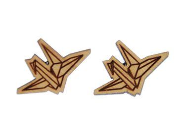 Papier Schwan Ohrstecker Miniblings Ohrringe Origami Vogel Kranich Tier Lasercut – Bild 1