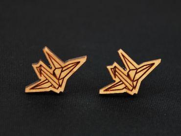 Papier Schwan Ohrstecker Miniblings Ohrringe Origami Vogel Kranich Tier Lasercut – Bild 2
