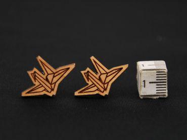 Papier Schwan Ohrstecker Miniblings Ohrringe Origami Vogel Kranich Tier Lasercut – Bild 3