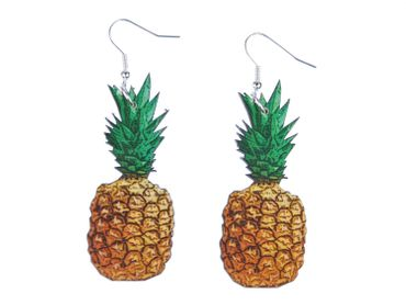 Pineapple Earrings Miniblings Healthy Fruits Fruit Food Laser Cut Wood – Bild 1