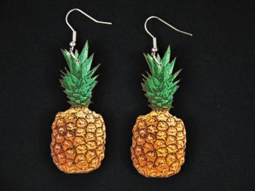 Pineapple Earrings Miniblings Healthy Fruits Fruit Food Laser Cut Wood – Bild 3