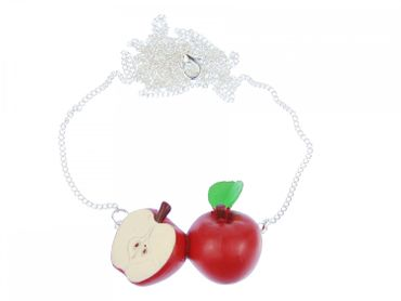 Apple Couple Necklace Miniblings 80cm Red Apple Fruit Fruits Healthy Life – Bild 1