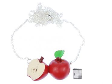 Apple Couple Necklace Miniblings 80cm Red Apple Fruit Fruits Healthy Life – Bild 2