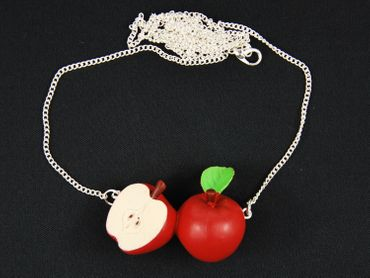 Apple Couple Necklace Miniblings 80cm Red Apple Fruit Fruits Healthy Life – Bild 3