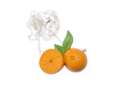 Orangenpaar Kette Halskette Miniblings 80cm Orange Obst Frucht Gesund Leben – Bild 1