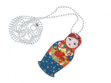 Matryoshka Necklace Miniblings 80cm Babuschka russian puppet doll Wood Lasercut – Bild 1