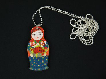 Matryoshka Necklace Miniblings 80cm Babuschka russian puppet doll Wood Lasercut – Bild 3