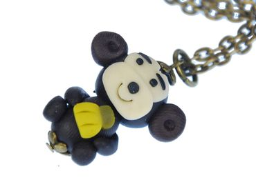 Monkey NecklaceMiniblings 45cm ape polymer clay Banana Jungle zoo Animal 3D – Bild 1