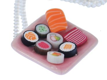 Sushi Plate Necklace Miniblings 60cm Japanese Japan Asia fast foodCawaii fish maki nigiri – Bild 2