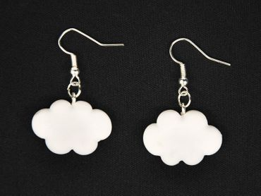 Cloud Earrings Miniblings Sky Clouds Air 3D White Summer Nature Polymer clay – Bild 2