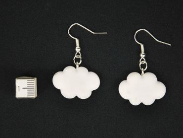 Cloud Earrings Miniblings Sky Clouds Air 3D White Summer Nature Polymer clay – Bild 3