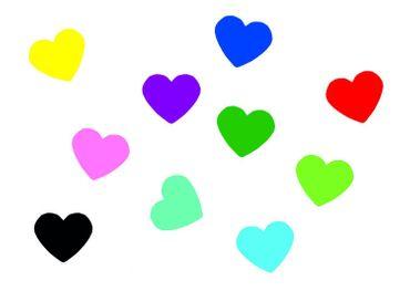 10X Patch Hotfix Iron On Motif Miniblings 22mm Glossy Gloss Heart Love Colorful – Bild 1