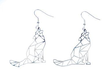 wolf Filigree Earrings Pendant Miniblings Nature Animal Forest dog Pack geometric – Bild 1