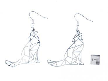 wolf Filigree Earrings Pendant Miniblings Nature Animal Forest dog Pack geometric – Bild 3