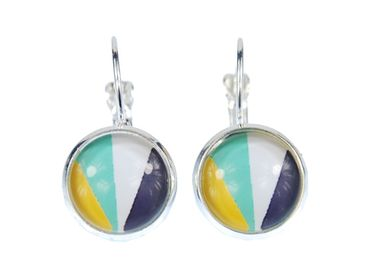 Colorful Stripes Pattern Cabochon Earrings Rockabilly Miniblings White Blue Green – Bild 1