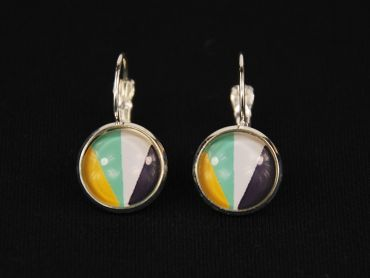 Colorful Stripes Pattern Cabochon Earrings Rockabilly Miniblings White Blue Green – Bild 2