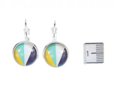 Colorful Stripes Pattern Cabochon Earrings Rockabilly Miniblings White Blue Green – Bild 3