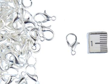 100X Carabiner Miniblings Clasps 12X6mm Jewellery Supply Crafts DIY Silver – Bild 1