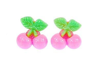 Cherry Pair Of Earrings Ear Studs Earstuds Miniblings Cherry Food Rosa – Bild 1