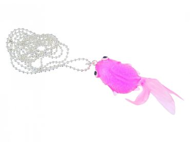 Fish Koi Necklace Miniblings 80cm Fighting Fish Rubber Neon Pink Pink – Bild 1