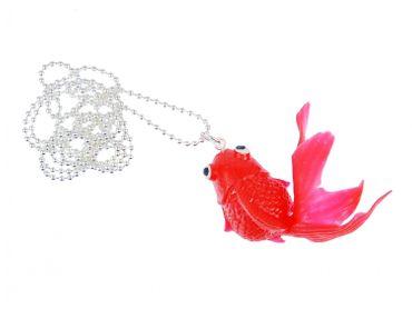 Fisch Koi Kette Halskette Miniblings 80cm Kampffisch Gummi Goldfisch Rot – Bild 1