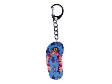 Badelatschen Schlüsselanhänger Miniblings Schlüsselring Sandale Gummi blau – Bild 1