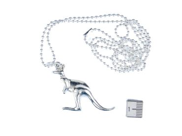 Kangaroo Necklace Miniblings 80cm Australia Down Under Marsupial zoo animal Silver – Bild 1